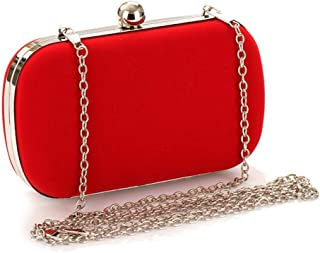 Runhuayou Women's Plain Chain Velvety Evening Bag Shoulder Messenger Bag Fashion Crazy Multicolor Dress Wedding Bridesmaid Clutches Bags Suitable for Females of All Ages on Any Occasions