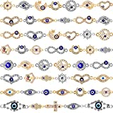 50 Pieces Mixed Alloy Enamel Eye Charms Assorted Evil Eye Connector Charms Rhinestone Diamond Evil Eye Link Charms for DIY Jewelry Necklace Bracelet Crafts Making (Silver, Gold)