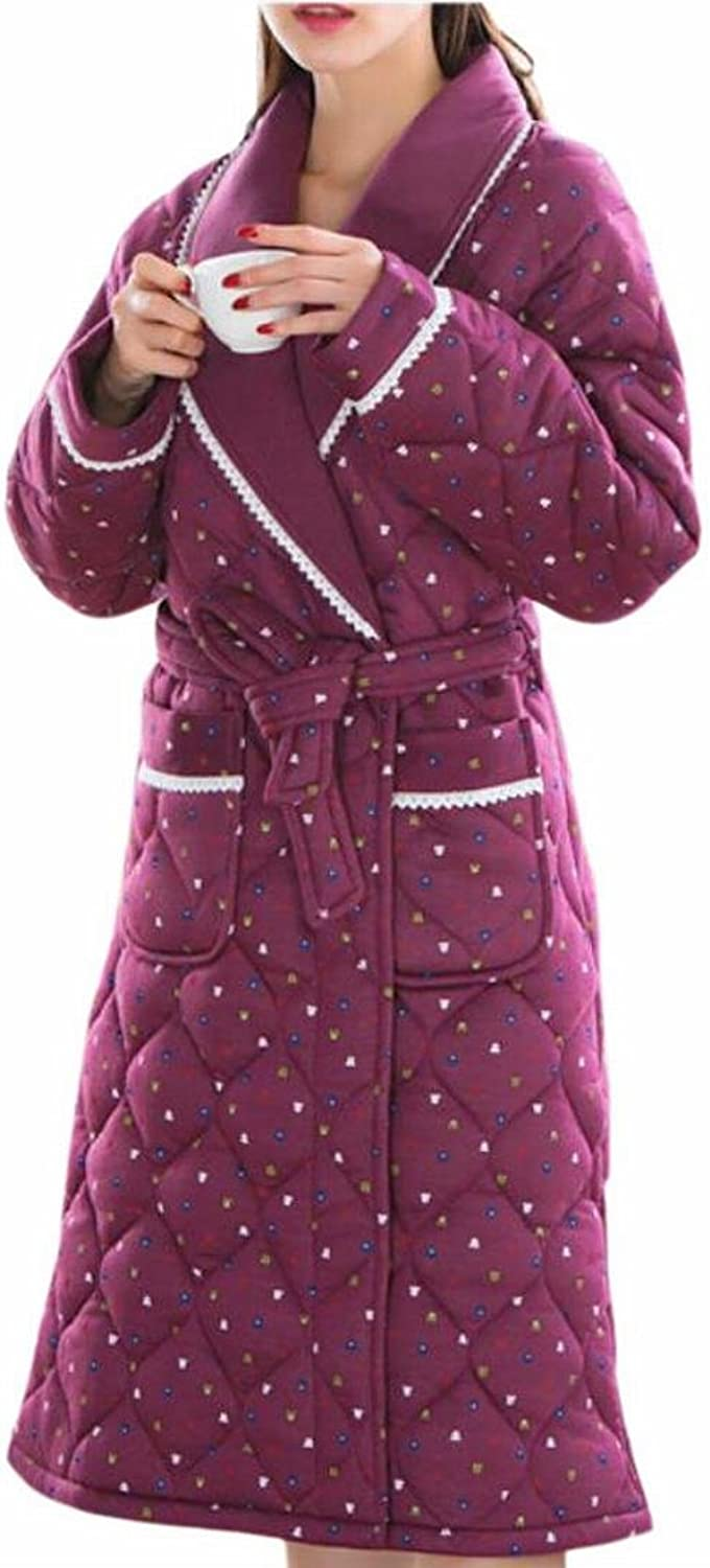 GAGA Women's Casual Quilted Thick Print Lapel Pockets Homewear Robe