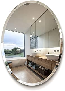 Bathroom Mirror Oval Frameless, Wall-Mounted Vanity Mirror Makeup Mirror, 5MM HD Silver Mirror for Bedroom Living Room Toilet 5CD1 (Size : 45 * 60cm)