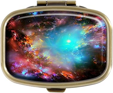 GDEE Galaxy Custom Fashion Stainless Steel Bronze Pill Box Western Tablets Tablet Holder Management Case Pocket or Wallet