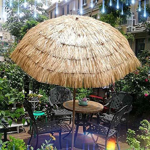 LDJ Patio Parapluie, 2m Parasol De Plage Parapluie Naturelle De Chaume Hula Parapluie en Raphia Rond pour Bar Patio Hawaïen Protection UV
