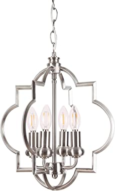 Homenovo Lighting Mersey 4-Light Chandelier, Modern Style Lighting for Entryway, Hallway, Dining Room and Living Room - Brush