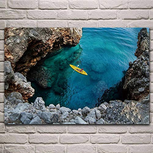 Lcgbw natuurlandschap kanus meer turquoise water bikini vrouw woonkamer decor thuis muurkunst decor poster 30x60cm Leinwand + Rahmen