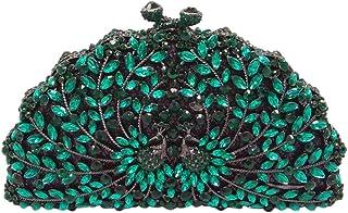 Diamante Clutch-Bags Ladies Sequin Crystal-Purse Womens Chain Evening-Bags Glitter Wedding Peacock