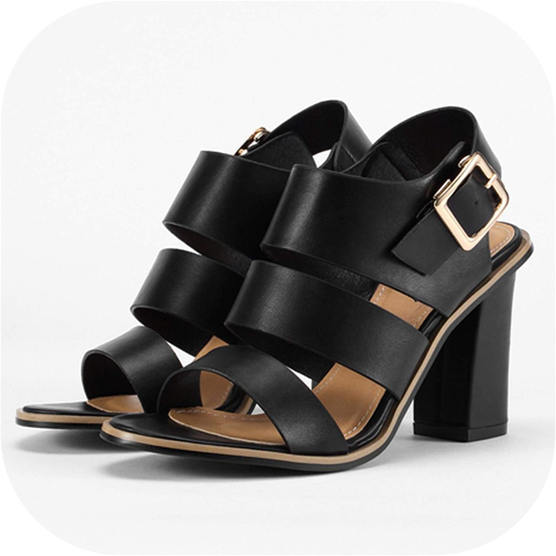 Shine-shine Gladiator Black Buckle Rap Sandals for Women Chunky Heels Block Heel White