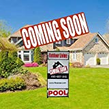 Coming Soon Sign for Estate Rider,Reusable Magnetic and Adhesive Sticker Option Coming Soon Sign for Real Estate(11.8 X 3.9 inch)