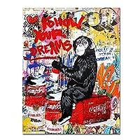 グラフィティ抽象モンキーオランウータンキャンバスペイティングポスタープリントストリートグラフィティアートウォール家の装飾のための装飾的な写真