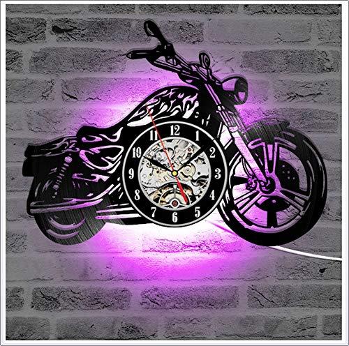 ZhangXF Motorrad Form Vinyl Record Wanduhr, LED Leucht Nachtlicht 12 Zoll Vinyl Record Clock Dekoration