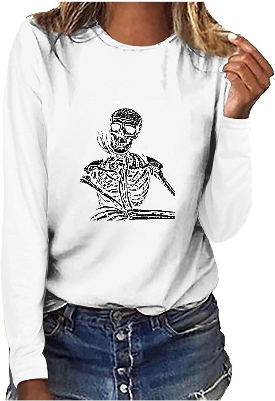 Youmei Fashion Women's T-Shirt Casual Loose Skeleton Printing O-Neck Long Sleeve Tee Shirts Tops Blouse Tunics