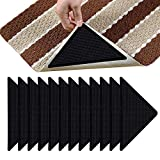 12 Pcs Rug Tape, Non Slip Rug Grippers, Reusable Washable Eco-Friendly Rug Pads for Area Rugs on Hardwood, Tile Floors, Carpets, Floor Mats, Linoleum, Wall