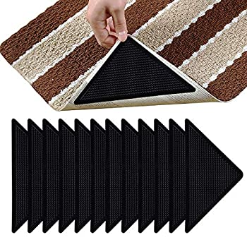 12 Pcs Rug Tape Non Slip Rug Grippers Reusable Washable Eco-Friendly Rug Pads for Area Rugs on Hardwood Tile Floors Carpets Floor Mats Linoleum Wall
