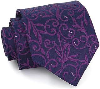 DIEBELLAU Men's Formalwear Business Vintage Pattern tie Retro Wedding Groom tie (Color : Dark Purple)