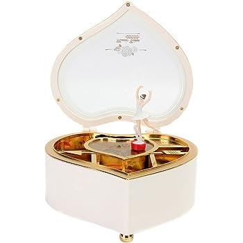 Carillon Rotante per Ballerina Swun Lake Tune per La Memorizzazione di Articoli da Toeletta caff/è E Bianco Carillon Portagioie A Forma di Cuore con Fata Danzante