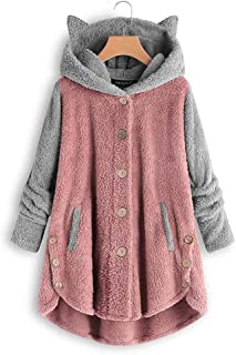 Plush Coat Women Button Hooded Animal Ear Hat Coat Ladies Faux Fur Jackets,Pink,S