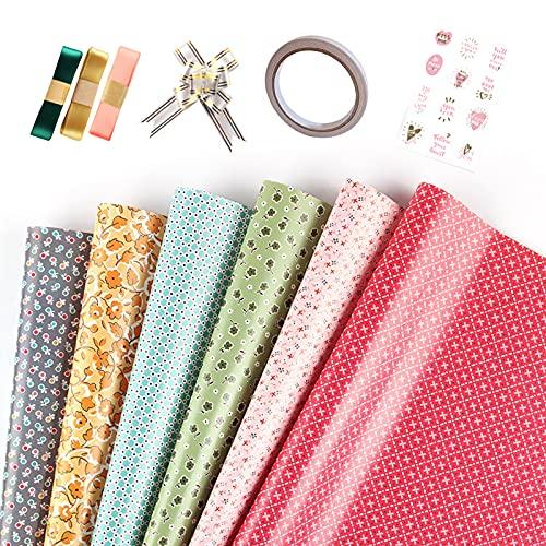 Geschenkpapier Set, 6 Blatt Geschenkpapier mit Aufklebern, farbigem Band, doppelseitigem Klebeband, Ziehschleife, Geschenkverpackung mit mehreren Blumenmustern für Geburtstag und Party
