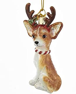 Noble Gems Chihuahua with Antlers Glass Ornament