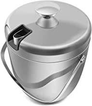 Fortune Candy Insulated Ice Bucket - Double Walled Stainless Steel Ice Bucket with Ice Tongs and Lid - 2.8 L, Silver