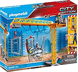 Fun for boys and girls: PLAYMOBIL RC Crane with Building Section, steel girder, construction material as well as crane operator and architect for detailed play IR remote control with channel change switch for operating 4 cranes simultaneously, Can be...