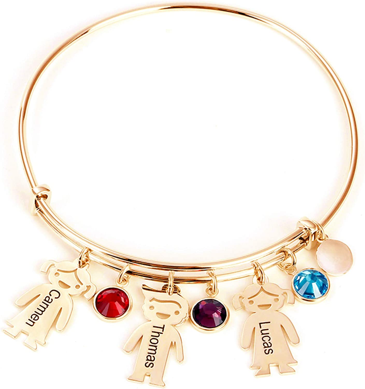 Drawelry Personalized Name Bangle Cuff Bracelet with 1-4 Simulat