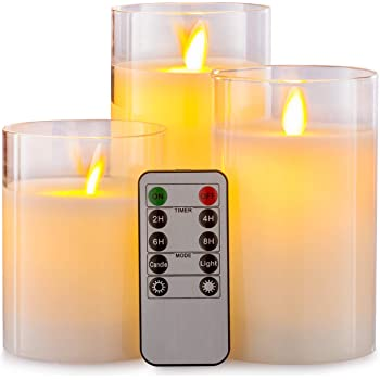 """Aku Tonpa Flameless Candles Battery Operated Pillar Real Wax LED Glass Candle Sets with Remote Control Cycling 24 Hours Timer, 4"""" 5"""" 6"""" Pack of 3"""