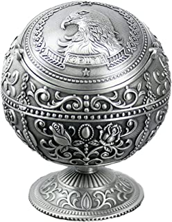 Nnty Gluck Vintage Windproof Cigar Ashtray with Lids Metal Portable Eagle Head Cigarette Ashtray and Odor Eliminator for Outdoors and Indoors Use, Hand Stamped Pattern Nice Gift for Men Women (Tin)