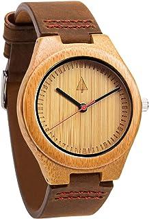 Treehut Men's Watch with Genuine Leather Strap Quartz Analog Wooden Durable Quality Wrist Watch