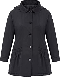 Women's Plus Size Lightweight Hooded Single Breasted Winter Trench Jacket Coat