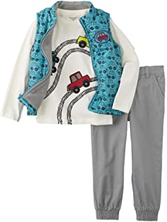 c841b2253043b Infant & Toddler Boys Baby Cars Outfit Blue Vest T-Shirt & Gray Pants