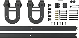 6.6ft Black Steel Sliding Barn Door Hardware Track Set 2x3.3ft Rails,Horseshoe Hanger Roller