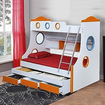 Royaloak Rome Double Size Bunk Bed White And Orange Amazon In Furniture