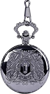 Watch Classical Pocket Watch Black Carved Pattern Gun Bullet Pocket Watch Vintage Thick Chain, Fashion Watch (Color : AS Picture, Size : Free Size)