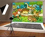 YongFoto 1,5x1m Fondo de Fotografia Dibujos Animados período Dinosaurio Animales Zoo Park Blue Nube Blanca Grassland Cumpleaños Telón de Fondo Fiesta Niños Boby Retrato Estudio Fotográfico Accesorios