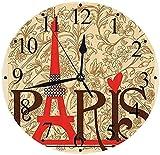 tuobaysj Reloj de Pared Silent Paris Vintage Floral Torre Eiffel Francesa Ciudad Vacaciones Postales Elegantes Regalos Reloj de Pared