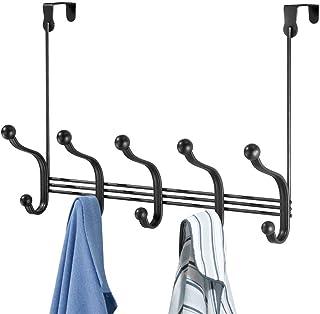 mDesign Perchero de puerta colgante – Colgador para puerta con 10 ganchos – Cuelga ropa de metal para baño y pasillo – Par...