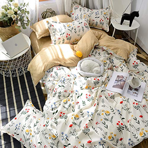 Floral Duvet Cover Set Offwhite Botanical Bedding Yellow Blue Red Flowers Plants Printed Design White Flowers Bedding Sets Queen (90x90) 1 Duvet Cover 2 Pillowcases (Queen, White)