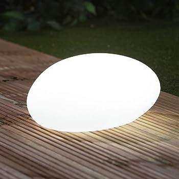 EASYmaxx Pietra Decorazione Solare con Cambio di Colore | Moderna Luce da Giardino all'aperto con Telecomando | Luce Solare a Sfera per Interni ed Esterni | Impermeabile Secondo IP67