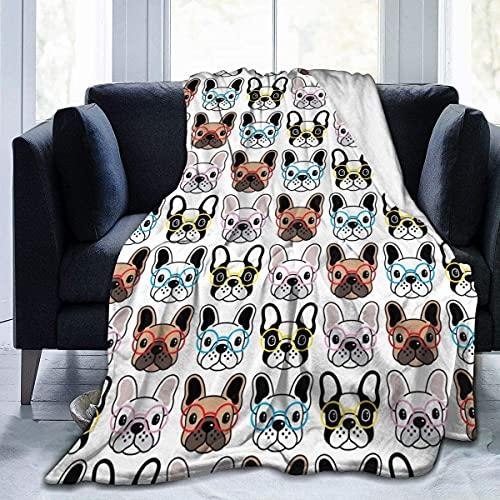 French Bulldog Glasses Wallpaper Flannel Fleece Blanekt 50x40 Inch Soft Throw Blanket Super Soft Luxury for Bedsure