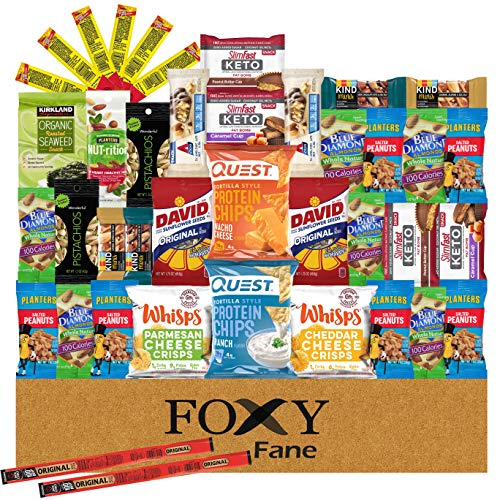 Foxy Fane 40 count Keto Snack Box - Gift Care Package with Variety of Protein Bars, Cheese Crisps, Nuts, Jerky - Low Carb, High in Fat & Protein Ketogenic Friendly Healthy Treats (40 Snacks)