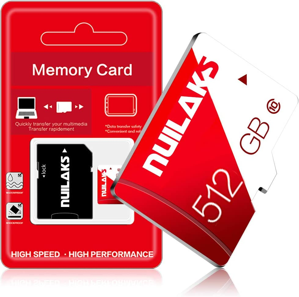 512GB Micro SD Card with Adapter Memory MicroSD Cards for Camera (Class 10 High Speed), Memory Card for Phone Computer Game Console, Dash Cam, Camcorder, GPS, Surveillance, Drone(512GB)…