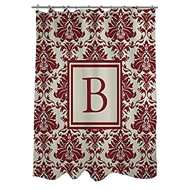 Manual Woodworkers & Weavers Shower Curtain, Monogrammed Letter B, Crimson Damask