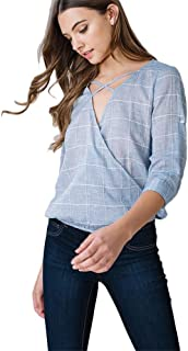 Listicle Women Checked Surplice Top