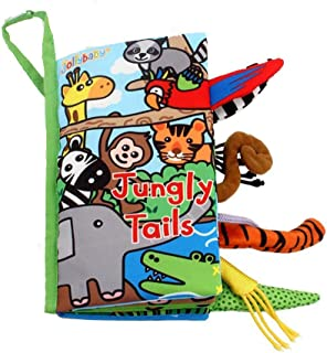 MOSTOP Cloth Book Baby Soft Animal Tails Cloth Book Early Education Crinkle Books Toys for Babies Infants and Kids Nontoxic Fabric Baby Gifts (Jungly Tails)