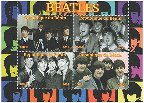 Francobolli da collezione - Minifoglio con fotografie di UK band The Beatles 2014-4 timbro foglio/MNH/Benin