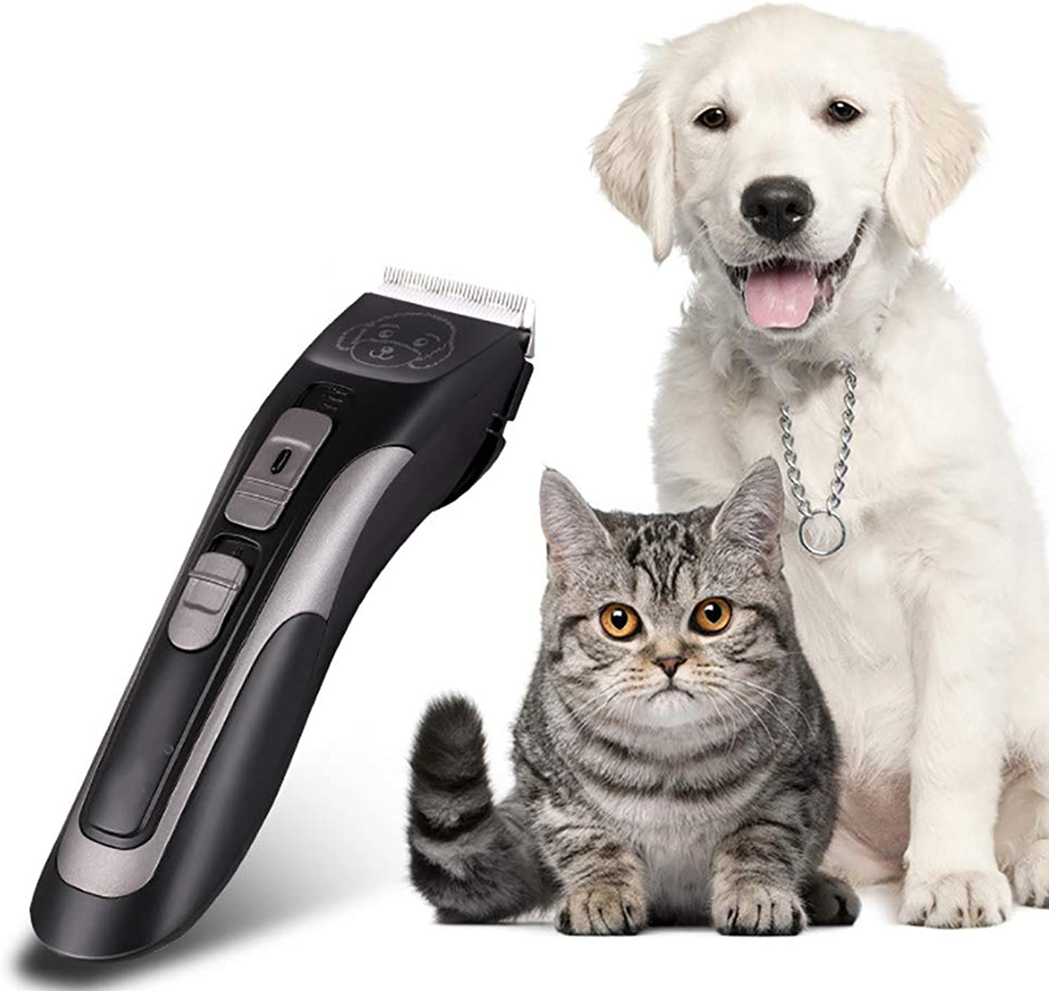 QNMM Dog Rechargeable Grooming Clippers Professional Grooming Clippers Detachable Blades Cordless Pet Clipper Kit for Dogs Cats Pets