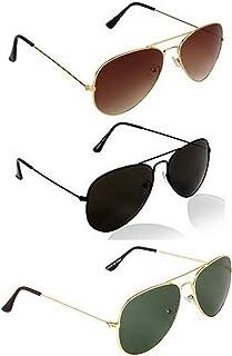 Dervin UV Protection Unisex Aviator Sunglasses (Black) - Combo of 3