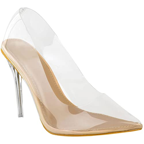 7e7b8b41c23 Fashion Thirsty Womens Court Shoes Perspex Clear High Heel Stilettos Pumps  Clear Party Size