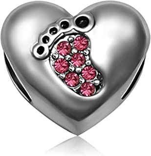 Heart Mom Love Baby Footprints Jan-Dec Birthstone Charms Beads for Bracelets Mother Gifts