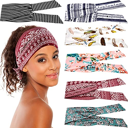 6 Pieces Adjustable Headbands for Women Knotted Headbands African Headband Yoga Elastic Non-Slip Floral Hair Bands for Running Hiking Cycling Workout (Stylish Patterns)