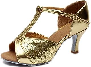 112e1434b8d23 excellent.c Women's Buckle with Latin Shoes Sequins Waltz Dance Shoes  Sandals